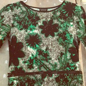 Topshop black/green zipper peekaboo dress